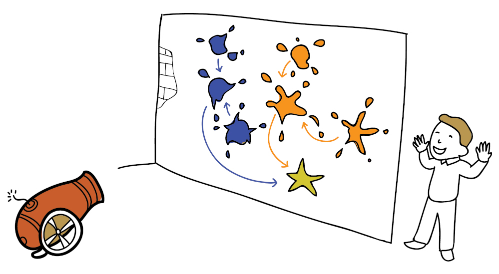 A man stands next to a wall covered in coloured splats. The splats direct to central splats which then direct towards a gold star, a metaphor for how strategical content journeys can lead prospects towards conversion.