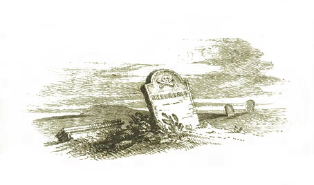 A sketch of a grave stone with the word 'resurgam' on it, by Branwell Brontë